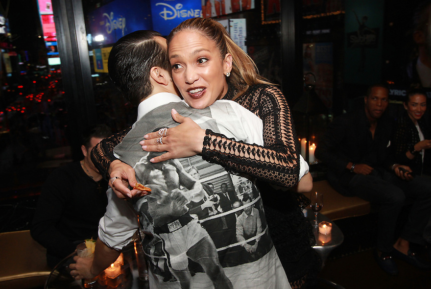 """Actor Lin-Manuel Miranda and singer Jennifer Lopez  are seen at the R Lounge where Hennessy V.S.O.P Privilege Celebrated Lin-Manuel Miranda's Final Performance in """"Hamilton""""  on Saturday, July 9, 2016, in New York. (Photo by Donald Traill/Invision for Hennessy V.S.O.P Privilege/AP Images)"""
