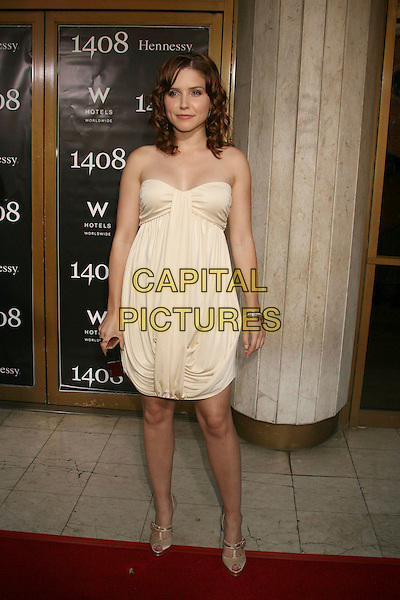 """SOPHIA BUSH.""""1408"""" World Premiere held at the Mann National Theater, Westwood, California, USA..June 12th, 2007.full length yellow beige strapless dress gathered grecian style peep toe peeptoe shoes.CAP/ADM/RE.©Russ Elliot/AdMedia/Capital Pictures"""