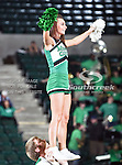 The North Texas Mean Green cheerleaders in action during the NCAA  basketball game between the South Alabama Jaguars and the University of North Texas Mean Green at the North Texas Coliseum,the Super Pit, in Denton, Texas. UNT defeated South Alabama 82 to 79...