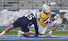 Kyle Gallagher #28 of Hofstra University, right, and Chris Clemente #45 of Monmouth battle for control of faceoff during an NCAA men's lacrosse game at Shuart Stadium in Hempstead, NY on Wednesday, March 14, 2018. Hofstra won by a score of 7-6.