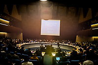 The main hall hosting the opening session of the Executive Board Meeting of the World Health Organisation, the UN's health body, at the organisation's headquarters in Geneva. The annual event is taking place in the shadow of the Corona virus outbreak, which the WHO has declared as global health emergency.