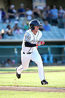 Myles Straw (7) of the Lancaster JetHawks runs to first place during a game against the San Jose Giants at The Hanger on August 13, 2016 in Lancaster, California. Lancaster defeated San Jose, 16-2. (Larry Goren/Four Seam Images)
