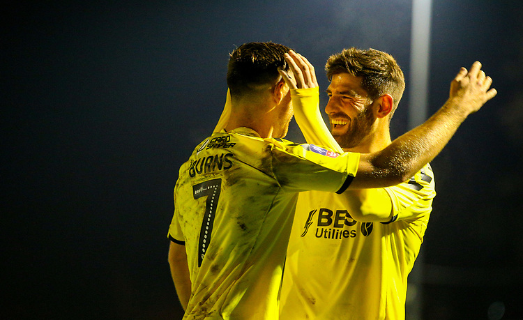Fleetwood Town's Wes Burns celebrates scoring his side's second goal with teammate Ched Evans<br /> <br /> Photographer Alex Dodd/CameraSport<br /> <br /> The Emirates FA Cup Second Round - Guiseley v Fleetwood Town - Monday 3rd December 2018 - Nethermoor Park - Guiseley<br />  <br /> World Copyright &copy; 2018 CameraSport. All rights reserved. 43 Linden Ave. Countesthorpe. Leicester. England. LE8 5PG - Tel: +44 (0) 116 277 4147 - admin@camerasport.com - www.camerasport.com