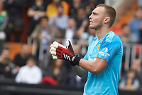 29th February 2020; Mestalla, Valencia, Spain; La Liga Football,Valencia versus Real Betis; Goal Keeper Cillessen gives instructions to his defensive players