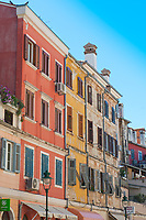 A view of apartments on the harbour at Rovinj, Istria County, Croatia