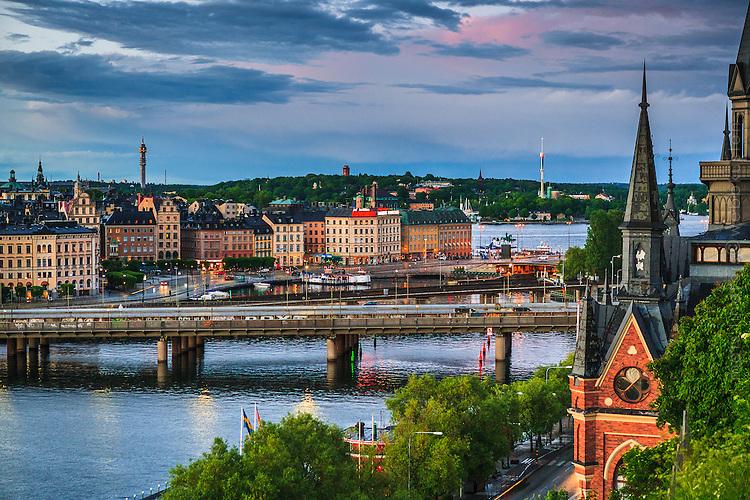 Mariahissen med utsikt mot Centralbron, Slussen, Gamla stan och Djurgården i Stockholm.