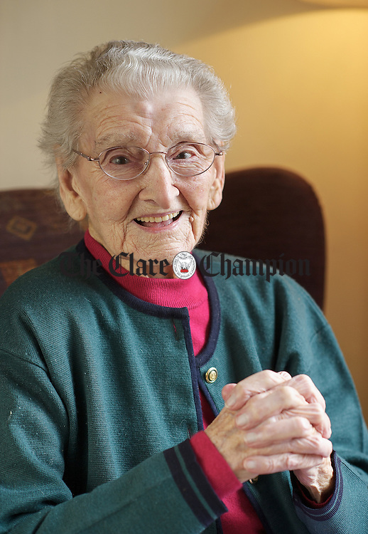 Nora Canavan of St Catherine's, Doolin who celebrates her 107th birthday on March 9th. Photograph by John Kelly.