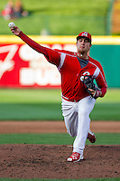 Brett Zawacki (40) of the Springfield Cardinals delivers a pitch during a game against the Frisco RoughRiders on April 16, 2011 at Hammons Field in Springfield, Missouri.  Photo By David Welker/Four Seam Images