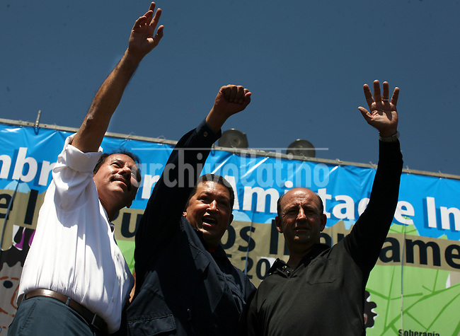Presidents of Nicaragua, Daniel Ortega; Venezuela, Hugo Chavez, and  Cuba's vicepresident Carlos Lage  during the  Meeting for the Friendship of the Iberoamerican People  in Santiago de Chile, Saturday, November  10, 2007.The meeting was a parallel event of the Iberoamerican Summit...