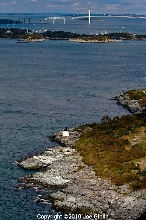 The light at Castle HIll Coast Guard staion in Newport on Aquidneck Island in Rhode Island. Aerial images of RI/Narragansett Bay. (Photo/Joe Giblin)