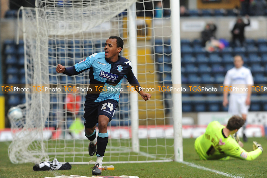 Matt Wichelow of Wycombe scores and celebrates - Wycombe Wanderers vs Tranmere Rovers - nPower League One Football at Adams Park, High Wycombe - 04/02/12 - MANDATORY CREDIT: Anne-Marie Sanderson/TGSPHOTO - Self billing applies where appropriate - 0845 094 6026 - contact@tgsphoto.co.uk - NO UNPAID USE.
