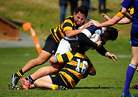 Action from the rugby match between Taranaki and Auckland Development in the Jack Hobbs Memorial Under-19 Rugby Tournament at Owen Delaney Park in Taupo, New Zealand on Wednesday, 13 September 2012. Photo: Dave Lintott / lintottphoto.co.nz