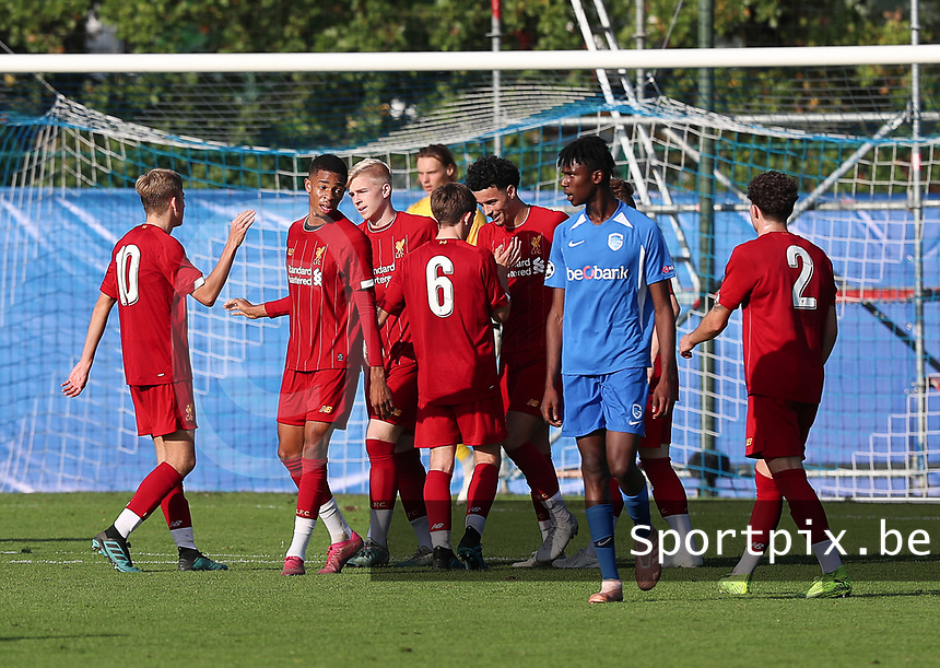 20191023 - Genk: Liverpool players are celebrating their captain Curtis Jones' goal celeduring the UEFA Youth League group stages match between KRC Genk Youth and Liverpool FC on October 23, 2019 at KRC Genk Stadium Arena B, Genk, Belgium. PHOTO:  SPORTPIX.BE | SEVIL OKTEM