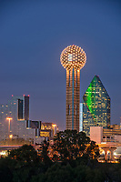 This is another slightly different angle of the cityscape with the Reunion Tower in downtown Dallas after dark.  You can see the highly mirrored Hyatt Regency right next to it and Fountain Place high rise in the background.
