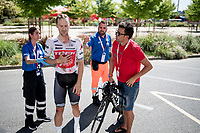 Edward Theuns (BEL/Trek-Segafredo) crashed seriously with 2km to go, but was able to reach the finish line. After which he was taken to hospital, where he was thoroughly checked and eventually cleared for racing the next day... <br /> <br /> stage 10 (ITT): Jurançon to Pau (36.2km > in FRANCE)<br /> La Vuelta 2019<br /> <br /> ©kramon
