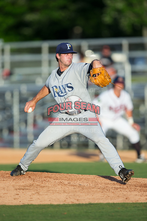 Princeton Rays relief pitcher Phoenix Sanders (14) in action against the Danville Braves at American Legion Post 325 Field on June 25, 2017 in Danville, Virginia.  The Braves walked-off the Rays 7-6 in 11 innings.  (Brian Westerholt/Four Seam Images)