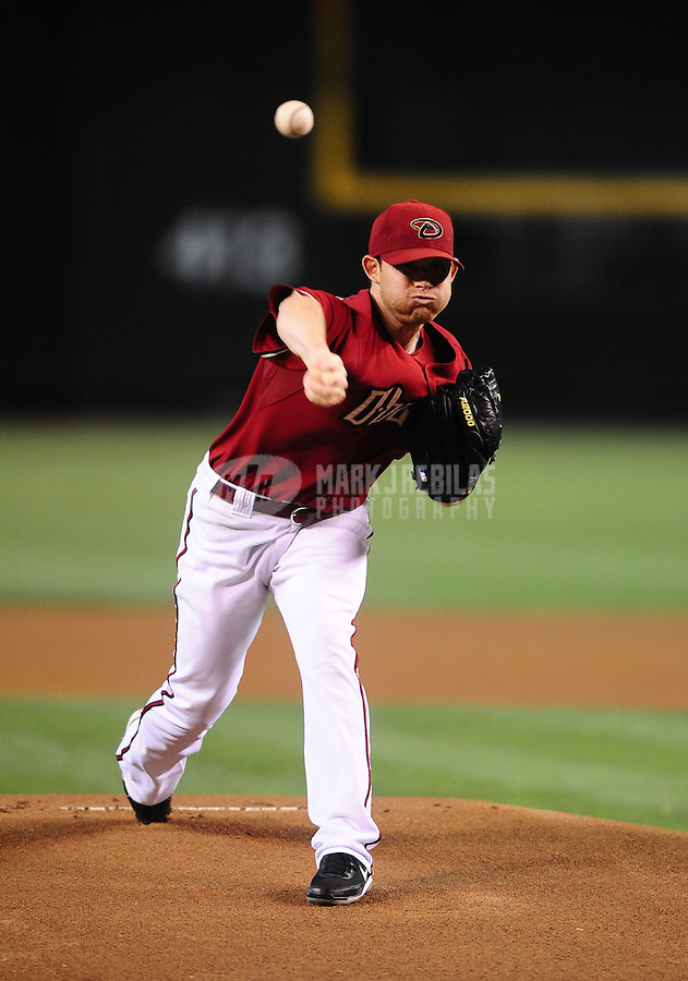 Jun. 9, 2010; Phoenix, AZ, USA; Arizona Diamondbacks pitcher Ian Kennedy throws in the first inning against the Atlanta Braves at Chase Field. Mandatory Credit: Mark J. Rebilas-