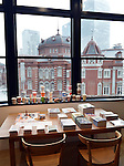 March 18, 2013, Tokyo, Japan - The south wing of recently renovated Tokyo Station is viewed from KITTE, the commercial facility housed in the JP Tower, a 200-meter-tall office building of Japan Post Group situated only a short walk from the Tokyo Station Marunouchi South Gate on Monday, march 18, 2013. KITT, the first commercial facility developed by Japan Pose with a 98 tenants, was shown to the media ahead of its official opening on March 21.  (Photo by Natsuki Sakai/AFLO)