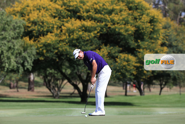 Keith Horne (RSA) putting for par on the 15th during Round Two of the 2016 BMW SA Open hosted by City of Ekurhuleni, played at the Glendower Golf Club, Gauteng, Johannesburg, South Africa.  08/01/2016. Picture: Golffile | David Lloyd<br /> <br /> All photos usage must carry mandatory copyright credit (&copy; Golffile | David Lloyd)