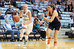 20 November 2016: North Carolina's Taylor Koenen (1) and Bucknell's Sune Swart. The University of North Carolina Tar Heels hosted the Bucknell University Bisons at Carmichael Arena in Chapel Hill, North Carolina in a 2016-17 NCAA Women's Basketball game. UNC won the game 65-50.