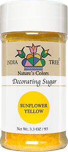 10254 Nature's Colors Sunflower Yellow Decorating Sugar, Small Jar 3.3 oz, India Tree Storefront