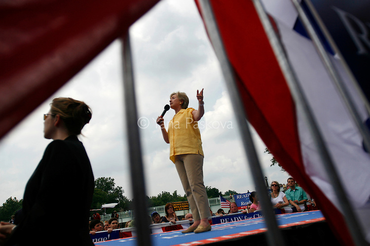 Democratic Presidential hopeful Hillary Clinton (D-NY) brought along her husband, former President Bill Clinton, as she campaigned at the University of Iowa in Iowa City, Iowa, on July 3, 2007.