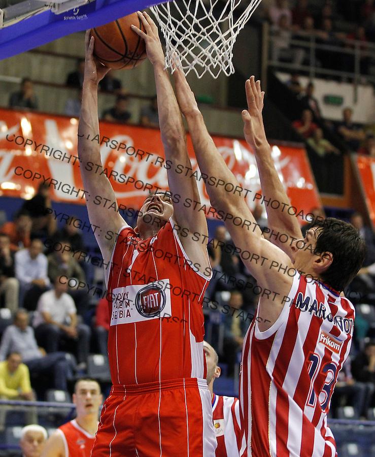 Kosarka ABA League season 2013-2014<br /> Crvena Zvezda v Radnicki (Kragujevac)<br /> Sava Lesic (L) and Boban Marjanovic<br /> Beograd, 12.10.2013.<br /> foto: Srdjan Stevanovic/Starsportphoto &copy;