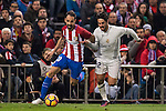 Juanfran of Atletico de Madrid fights for the ball with Isco of Real Madrid during their La Liga match between Atletico de Madrid and Real Madrid at the Vicente Calderón Stadium on 19 November 2016 in Madrid, Spain. Photo by Diego Gonzalez Souto / Power Sport Images