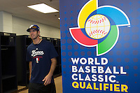 18 September 2012: France Pierrick Le Mestre is seen in the clubhouse during Team France practice, at the 2012 World Baseball Classic Qualifier round, in Jupiter, Florida, USA.