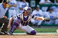 TCU catcher Bryan Holaday in Game 11 of the NCAA Division One Men's College World Series on June 25th, 2010 at Johnny Rosenblatt Stadium in Omaha, Nebraska.  (Photo by Andrew Woolley / Four Seam Images)
