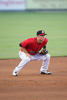 Kannapolis Intimidators third baseman Ethan Gross (18) on defense against the Hickory Crawdads at CMC-Northeast Stadium on May 21, 2015 in Kannapolis, North Carolina.  The Intimidators defeated the Crawdads 2-0 in game two of a double-header.  (Brian Westerholt/Four Seam Images)