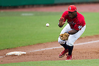 Stony Brook Seawolves third baseman William Carmona #5 fields a grounder during the NCAA Super Regional baseball game against LSU on June 9, 2012 at Alex Box Stadium in Baton Rouge, Louisiana. Stony Brook defeated LSU 3-1. (Andrew Woolley/Four Seam Images)