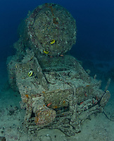 TG74717-D. Locomotive at 28 meters deep off to the port side of the SS Thistlegorm, which sank in the northern Red Sea in the Straits of Gubal in 1941 during World War II. The 126 meter long armed freighter was transporting military supplies to the British army, and while at anchor one night was bombed by German aircraft. The explosion blew this locomotive off the ship. Egypt, Red Sea.<br /> Photo Copyright &copy; Brandon Cole. All rights reserved worldwide.  www.brandoncole.com