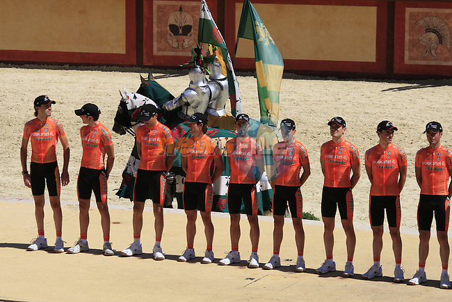 Euskaltel-Euskadi team at the Team Presentation at Le Puy du Fou theme park before the start of the 2011 Tour de France, 30th June 2011 (Photo by Eoin Clarke/NEWSFILE)