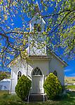Maryhill, Washington: Maryhill Community Church, 1888, with spring trees