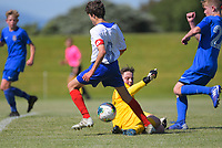 Action from the 2019 National Age Group Tournament Under-14 Boys football match between Auckland and Southern (blue) at Memorial Park in Petone, Wellington, New Zealand on Thursday, 11 December 2019. Photo: Dave Lintott / lintottphoto.co.nz