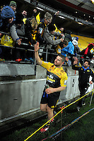 Dane Coles thanks fans after the Super Rugby final match between the Hurricanes and Lions at Westpac Stadium, Wellington, New Zealand on Saturday, 6 August 2016. Photo: Dave Lintott / lintottphoto.co.nz