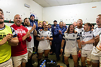 Bristol Bears players celebrate after the match. Gallagher Premiership match, between Leicester Tigers and Bristol Bears on April 27, 2019 at Welford Road in Leicester, England. Photo by: Patrick Khachfe / JMP