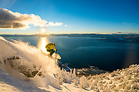 Jim Morrison skiing the east shore of Lake Tahoe at sunset. It's hard to get this south and western facing exposure in powder, but we nailed it and the light was amazing.