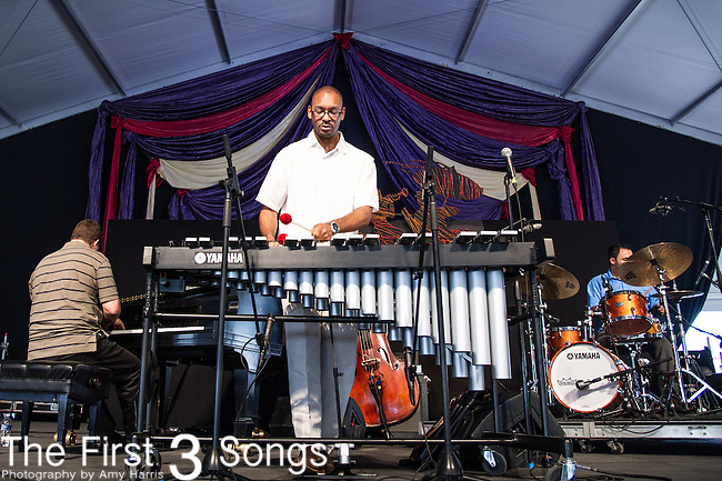 Jason Marsalis of Woodshed: Vibes featuring Jason Marsalis and Chase Jordan performs during the New Orleans Jazz & Heritage Festival in New Orleans, LA.