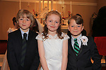 Freddie Morgan Katelyn Briscoe Jos Keeting.at First Comunion in Termonfeckin church..Picture:  www.newsfile.ie ..