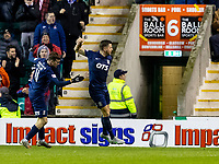 30th November 2019; Easter Road, Edinburgh, Scotland; Scottish Premiership Football, Hibernian versus Kilmarnock; Alex Bruce of Kilmarnock celebrates after pulling one back for Kilmarnock to make it 2-1 in the 676th minute - Editorial Use