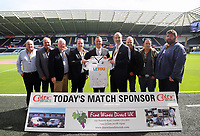 Lee Trundle with match sponsors during the English Premier League soccer match between Swansea City and Manchester United at Liberty Stadium, Swansea, Wales, UK. Saturday 18 August 2017