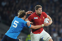 Pascal Papé of France is tackled by Joshua Furno of Italy during Match 5 of the Rugby World Cup 2015 between France and Italy - 19/09/2015 - Twickenham Stadium, London <br /> Mandatory Credit: Rob Munro/Stewart Communications