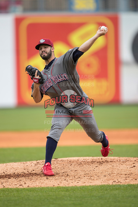 Lehigh Valley IronPigs pitcher Adam Morgan (11) delivers a pitch to the plate against the Toledo Mud Hens during the International League baseball game on April 30, 2017 at Fifth Third Field in Toledo, Ohio. Toledo defeated Lehigh Valley 6-4. (Andrew Woolley/Four Seam Images)