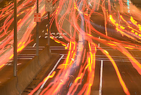 Available directly from Jeff as a Fine Art Print<br /> <br /> A Vertical similar to this image is available for commercial and editorial licensing from Getty Images.  Please go to www.gettyimages.com and search for image # 84875608<br /> <br /> Automobile Tail Lights (Light Trails) on First Avenue at Night, Midtown Manhattan, New York City, New York State, USA
