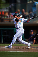 Inland Empire 66ers second baseman Jahmai Jones (8) follows through on his swing during a California League game against the Lancaster JetHawks at San Manuel Stadium on May 20, 2018 in San Bernardino, California. Inland Empire defeated Lancaster 12-2. (Zachary Lucy/Four Seam Images)