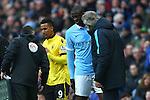 Yaya Toure of Manchester City talks with manager Manuel Pellegrini as he is substituted - Barclay's Premier League - Manchester City vs Aston Villa - Etihad Stadium - Manchester - 05/03/2016 Pic Philip Oldham/SportImage
