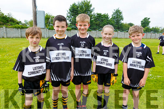 Members of the Listowel Community game team taking part in the Community GAA Football games in Na Gaeil on Monday. L to r: Louis Corridan, Mark Heaphy, Dylan Toomey, Aoife Sweeney and Aodhan O'Connell.
