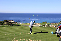 Paul Dunne (IRL) tees off the par3 3rd tee at Spyglass Hill during Thursday's Round 1 of the 2018 AT&amp;T Pebble Beach Pro-Am, held over 3 courses Pebble Beach, Spyglass Hill and Monterey, California, USA. 8th February 2018.<br /> Picture: Eoin Clarke | Golffile<br /> <br /> <br /> All photos usage must carry mandatory copyright credit (&copy; Golffile | Eoin Clarke)